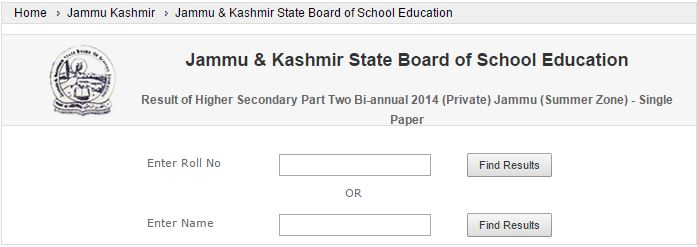 JKBOSE Result of Higher Secondary Part 2 Bi-annual 2014 (Private) - Single Paper Jammu (Summer Zone) Declared