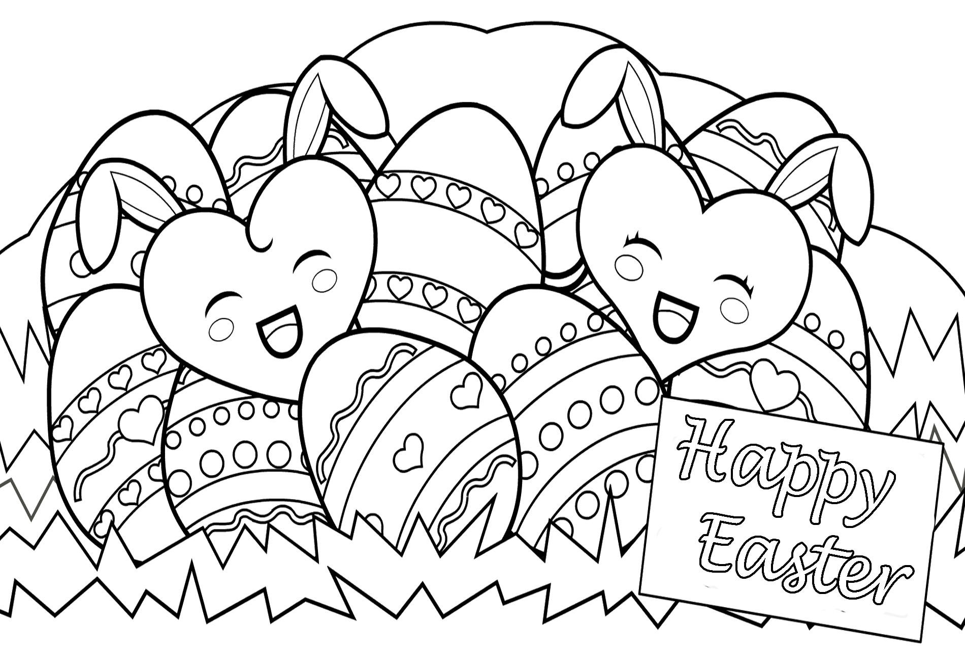 Happy Easter Day Eggs Coloring