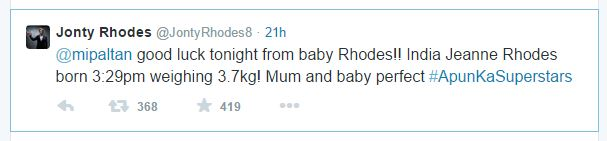 Jonty Rhodes Keeps His New Born Daughter Name India tweet