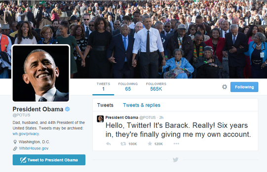 Finally US President Barak Obama on Twitter