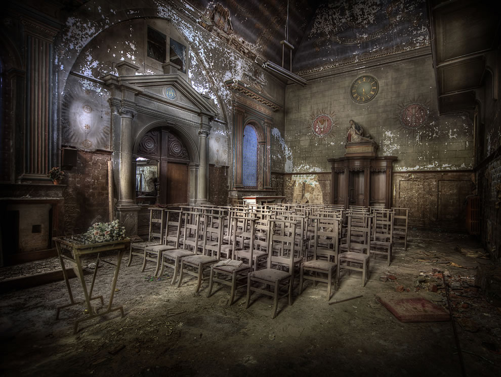Abandoned church with chairs still standing