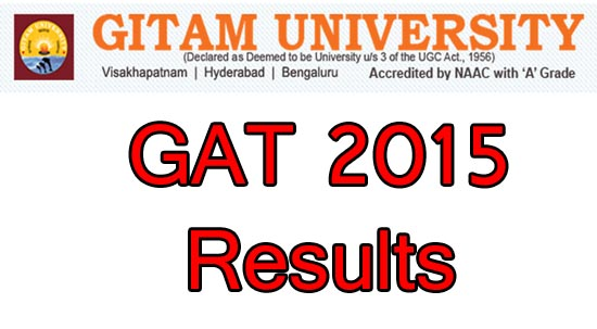 Gat Result 2015 Rank Card of Gitam University