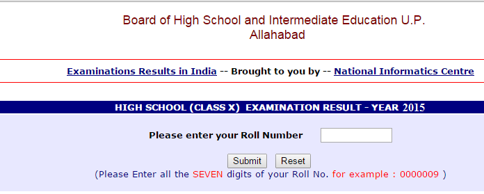 U. P. Board High School (Class X) Examination 2015 Results Declared Upmsp.nic.in