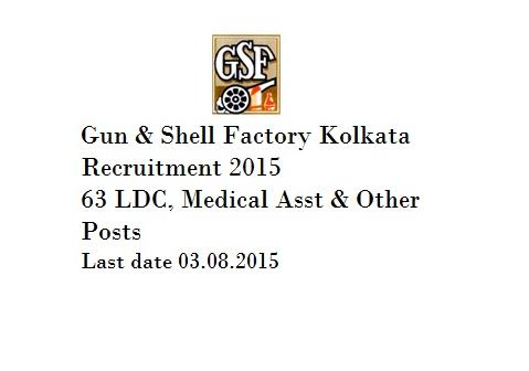 Gun & Shell Factory Recruitment 2015 for 63 LDC & Other Post