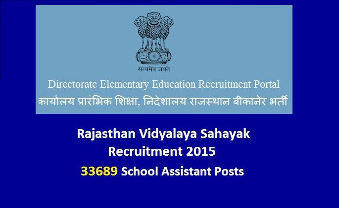 Apply Online For Rajasthan 33689 Shiksha Sahayak Recruitment 2015