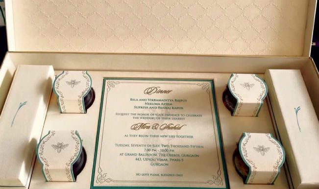 Shahid Kapoor Mira Rajput Wedding Card