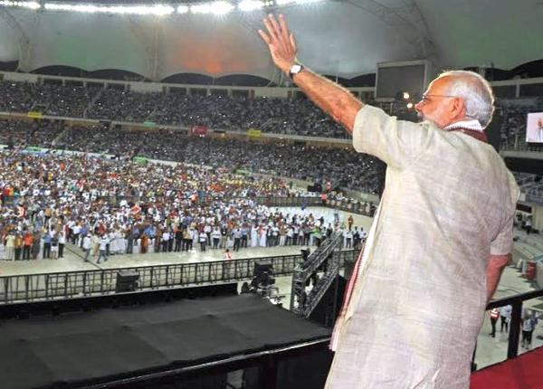 Today PM Narendra Modi Live Speech Video Announcements Deals In UAE Dubai Stadium