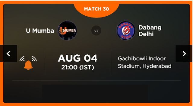 Watch Pro Kabaddi League 2015 Mumbai vs Delhi Match 30 Live Score Result Prediction