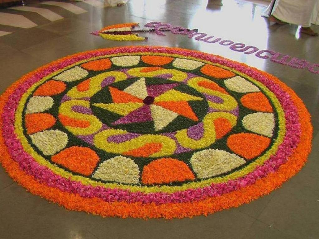 Happy Onam Pookalam Rangoli Pictures