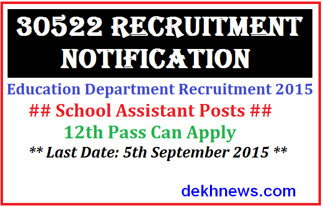 Apply Online For Rajasthan Vidyalaya Sahayak 30522 posts Recruitment 2015