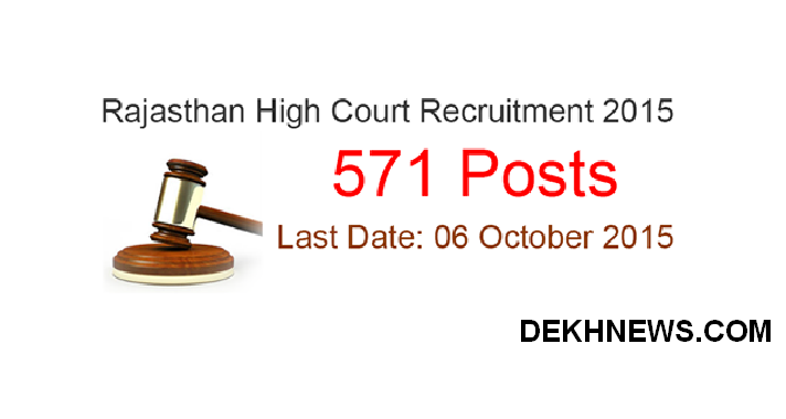 Apply Online For Rajasthan High Court 571 Junior Judicial Assistant & Clerk Cadre II Posts