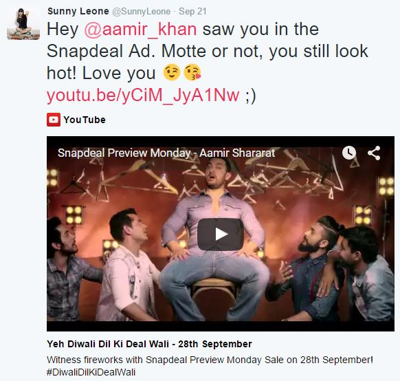 sunny leone tweet on aamir khan
