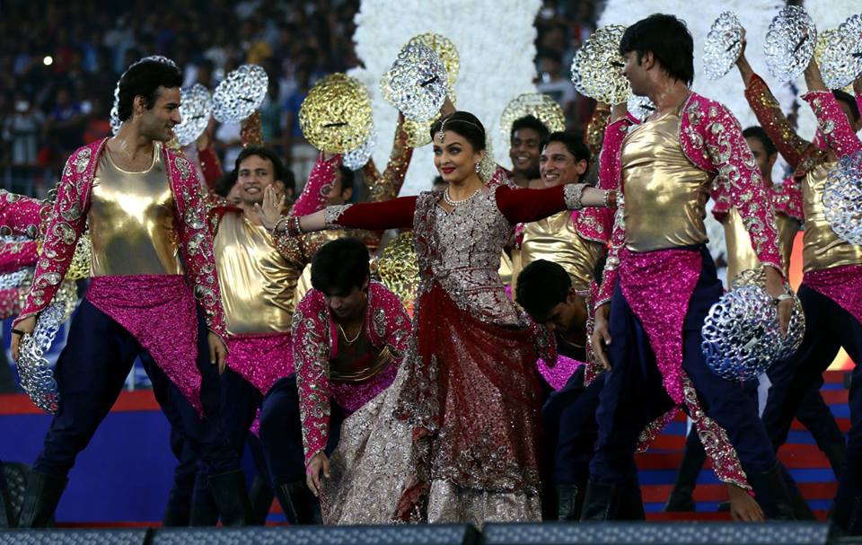Aishwarya Rai Bachchan performs during the opening ceremony of the Indian Super League (ISL) season 2