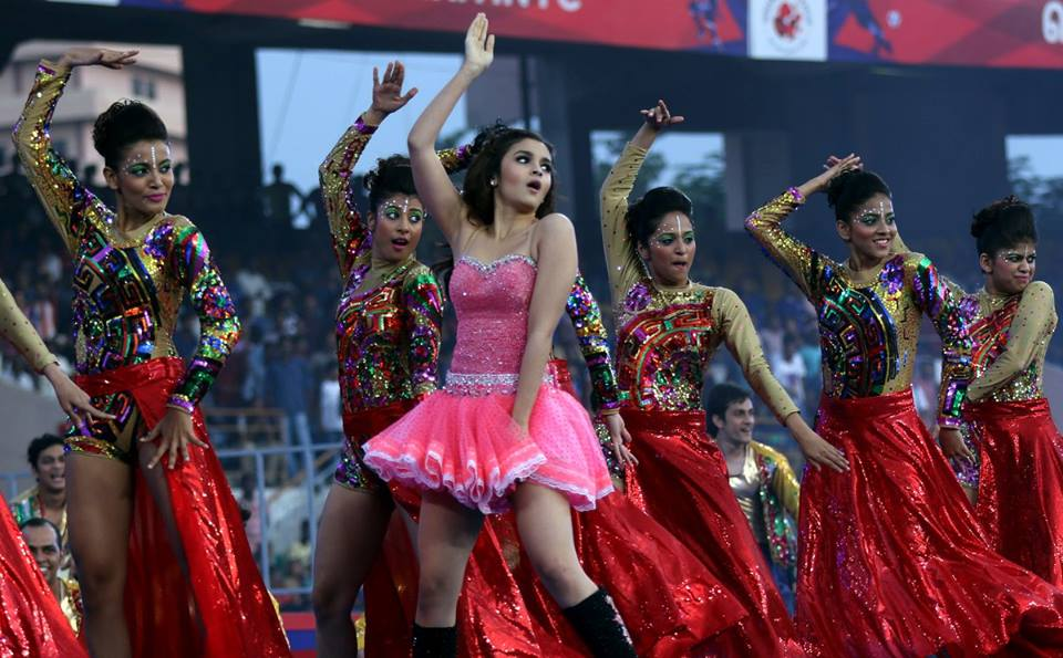 Alia Bhat performs during the opening ceremony of the Indian Super League (ISL) season 2