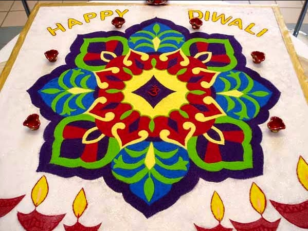 Happy Diwali Rangoli Designs with flowers