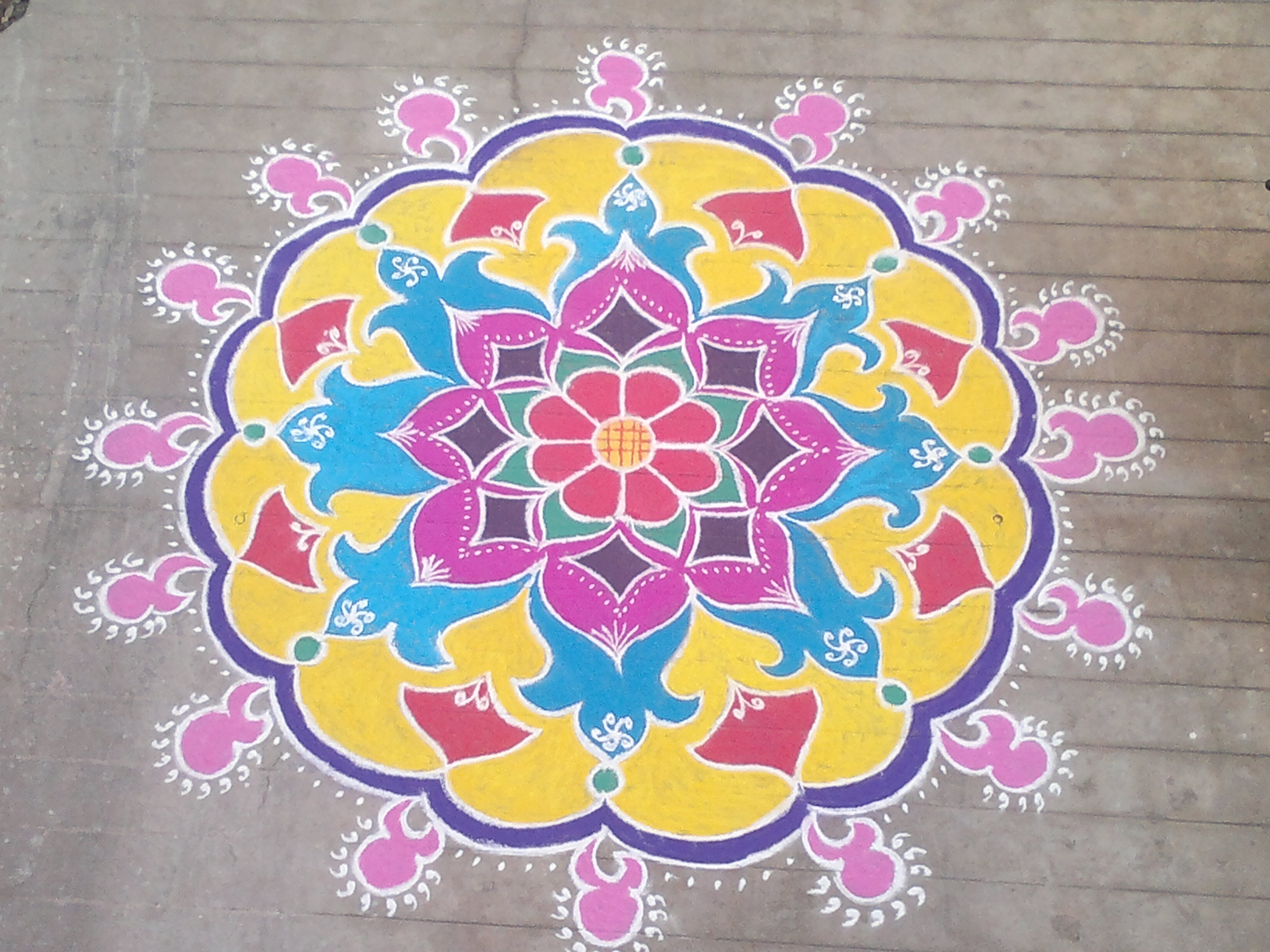 2018 Happy Diwali Rangoli Designs Peacock Patterns Flowers Images