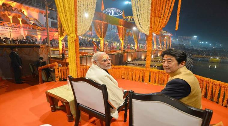 Watch PM Narendra Modi & Japanese Shinzo Abe Ganga Aarti Dashashwamedh Ghat in Varanasi