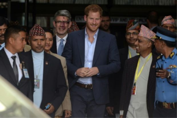 Britain's Prince Harry pays respects to Nepal earthquake victims