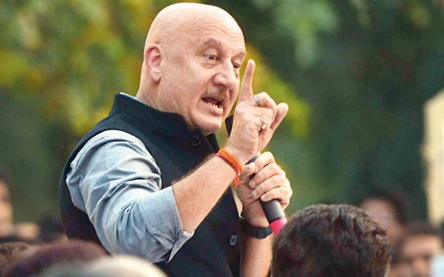 "JNU Students Chanted: ""Anupam Kher se azaadi"" at the back of the crowd"