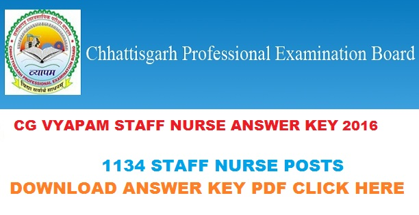 CG Vyapam Staff Nurse Answer Key 2016