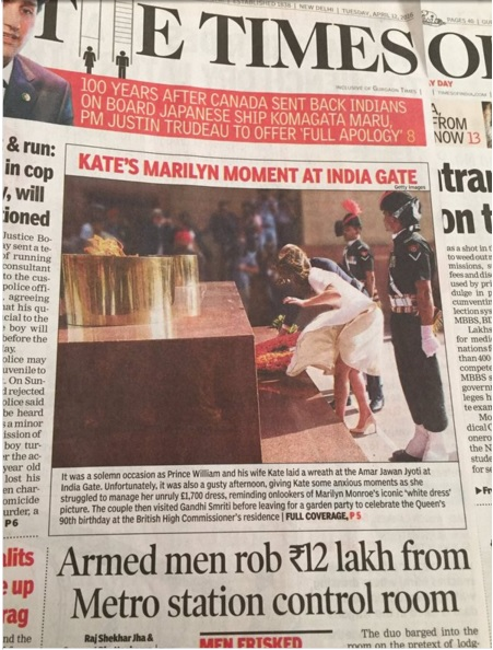 Kate Middleton's Marlyn Monroe Front at India Gate