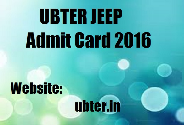 UBTER JEEP Admit Card 2016