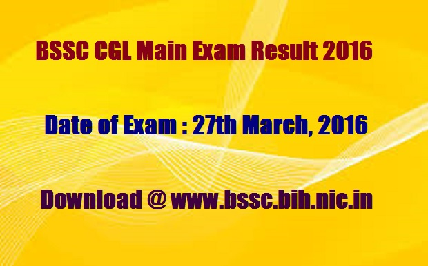 BSSC graduate level mains exam result 2016