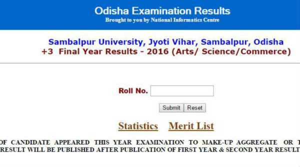 Check Sambalpur University +3 2016 Results Declared For Arts, Commerce, Science @ www.orissaresults.nic.in