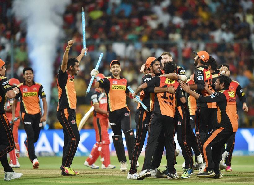 Bengaluru : Sunrisers Hyderabad players celebrate after winning the IPL 2016 Final match against Royal Challengers Bangalore at Chinnaswamy Stadium in Bengaluru on Sunday. PTI Photo by Shailendra Bhojak(PTI5_29_2016_000211B)
