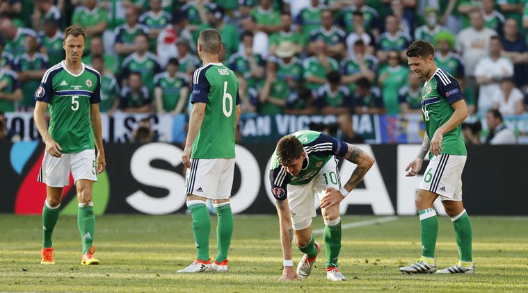 Football Soccer - Poland v Northern Ireland - EURO 2016 - Group C - Stade de Nice, Nice, France - 12/6/16 Northern Ireland players look dejected REUTERS/Jean-Paul Pelissier Livepic