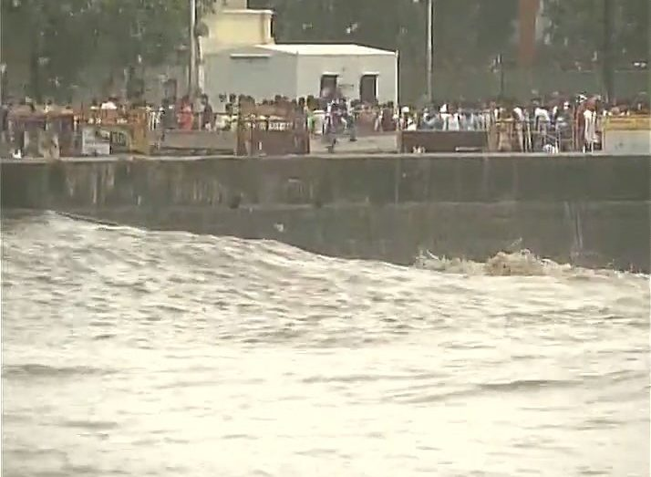 High tide at Gateway of India in Mumbai INDIA