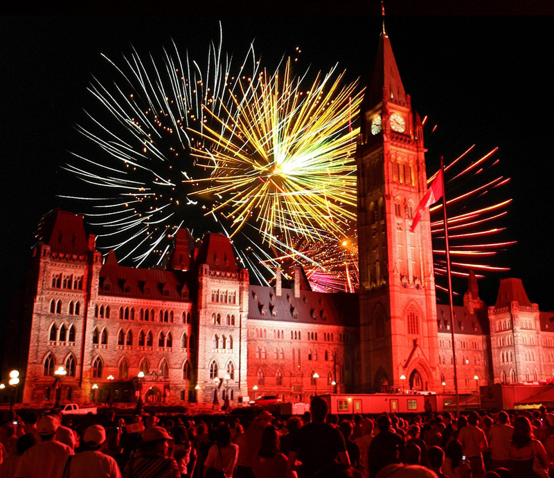 Fireworks explode over Parliament Hill during Canada Day celebrations in Ottawa on Tuesday July 1, 2008. THE CANADIAN PRESS/ Sean Kilpatrick