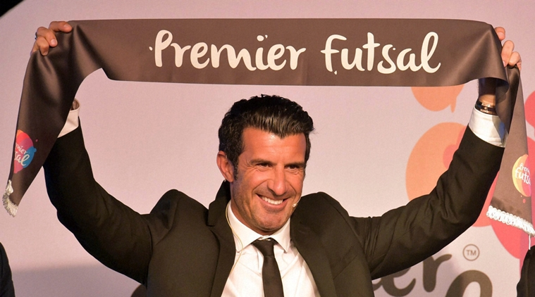 Mumbai: Real Madrid FC and Portuguese soccer legend Luis Figo pose for media during the announcement of Premier Futsal league in Mumbai on Tuesday. PTI Photo by Santosh Hirlekar(PTI4_5_2016_000163)