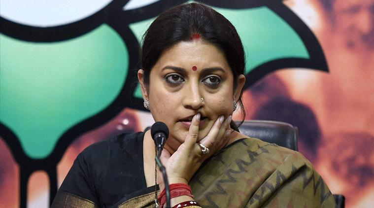 New Delhi : Union HRD minister Smriti Irani at a press conference at BJP headquarters in New Delhi on Tuesday. PTI Photo by Manvender Vashist (PTI3_15_2016_000248A)