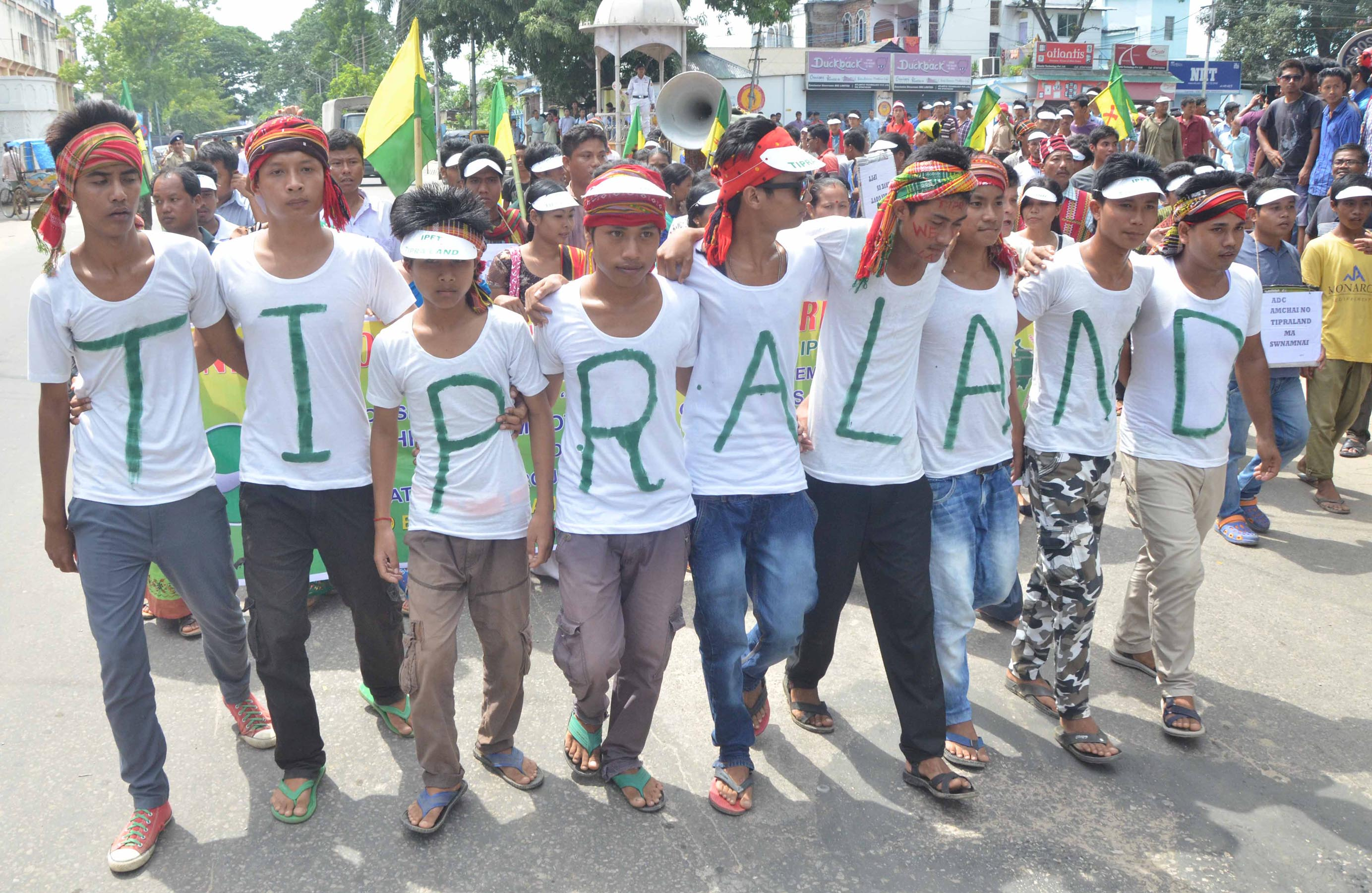 The regional IPFT party, known for the unruly behavior of his cadres, today staged another ugly show at Agartala on 23-08-15. The show in the form of procession moved through the streets of Agartala raising slogans for separate state called 'Twipra land', shouting abuses at Chief Minister Manik Sarkar and vociferously opposing any interaction between tribals and non-tribals. Pix by UB Photos