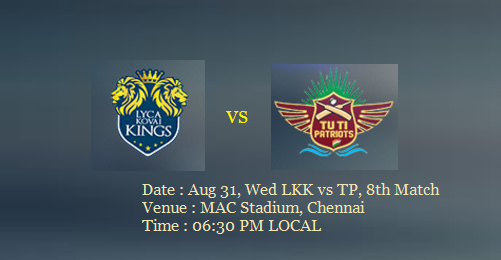 Lyca-Kovai-Kings-vs-TUTI-Patriots-TNPL-8th-Match-Preview-Prediction-Score-Wicket-Result-Highlights-Aug-31-2016