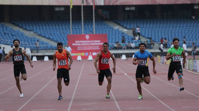 Athletes preparing for the Olympics at the Jawaharlal Nehru Stadium in New Delhi. Express Photo by Oinam Anand. 28.04.2016.