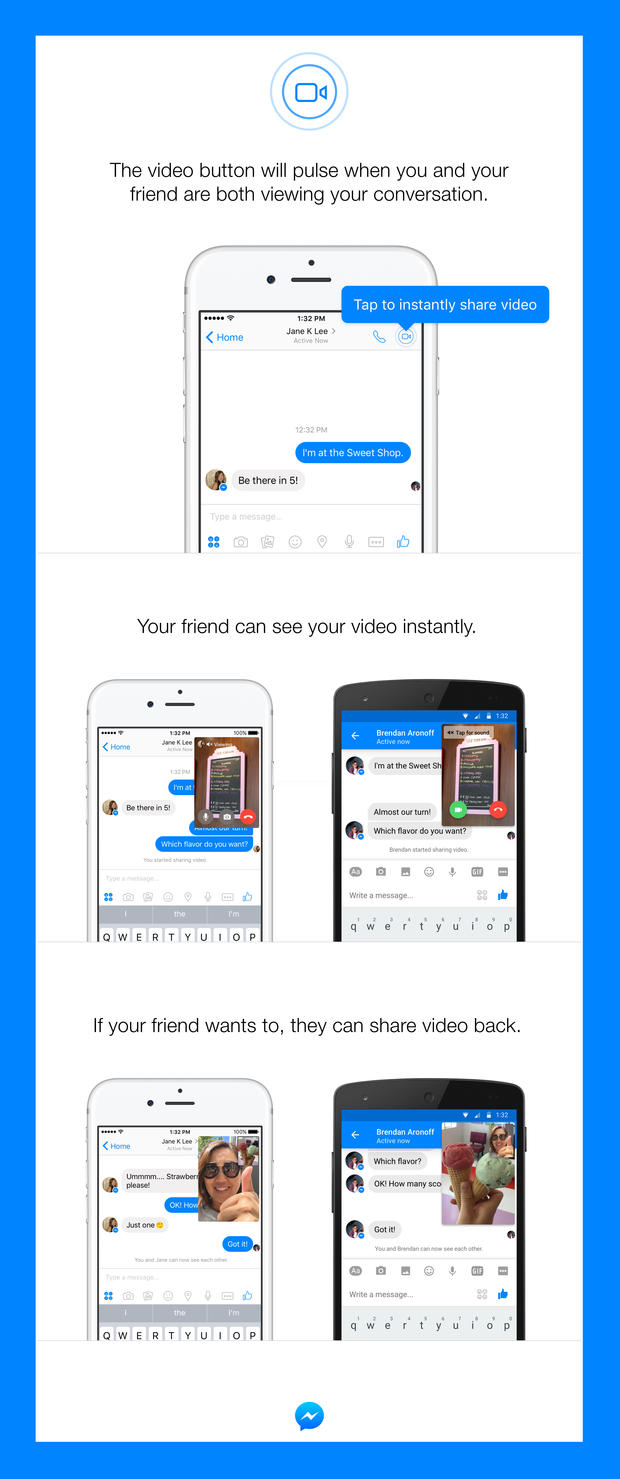 Facebook adds 'instant video' option to texts in Messenger1