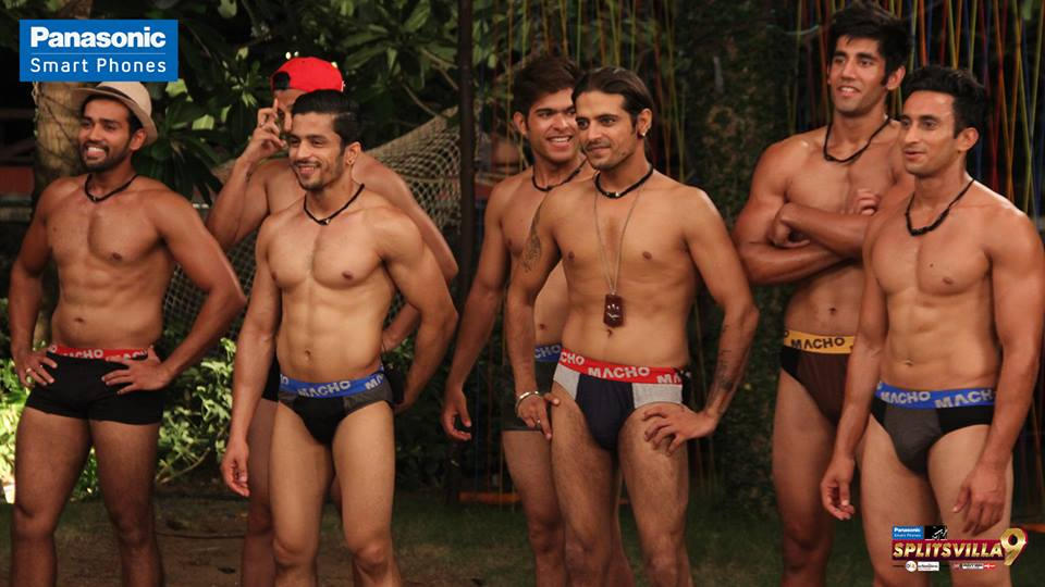 The boys make their grand entry in their underwear