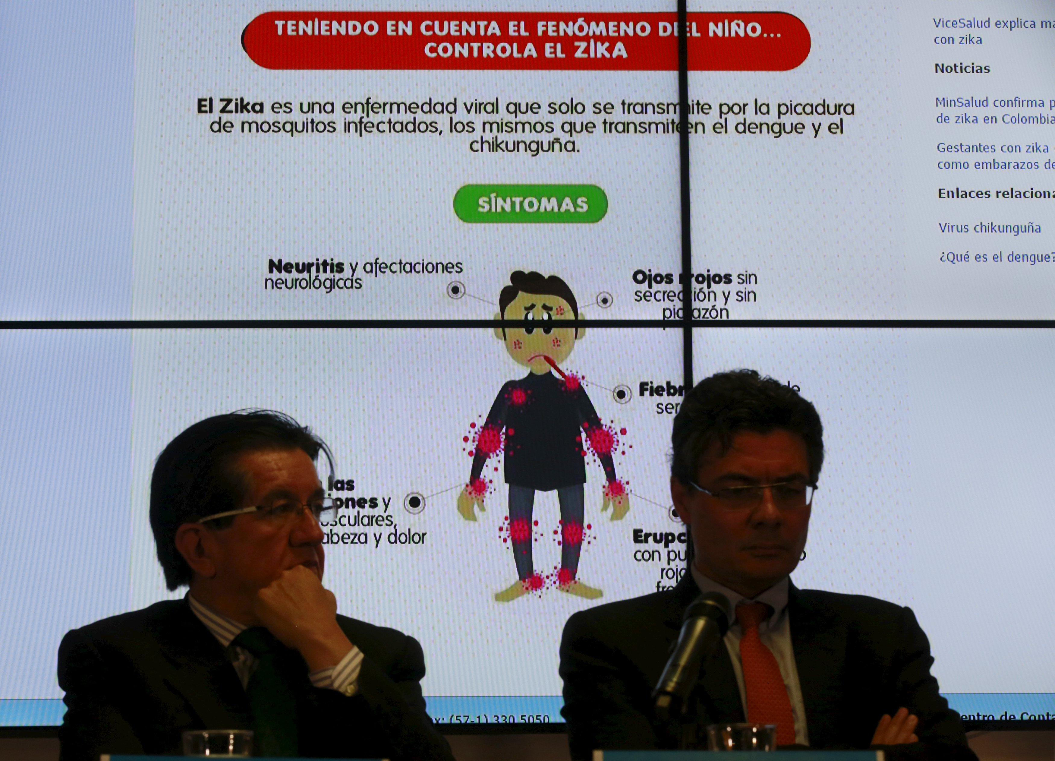 Graph of the symptoms of the Zika virus is seen behind of Colombia's Health Minister Alejandro Gaviria (R) during a news conference on the Zika virus in Bogota, Colombia, January 20, 2016. REUTERS/John Vizcaino