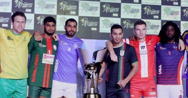 Ahmedabad: Captains of the competing nations pose for a group photo at the kickstart of 2016 Kabaddi World Cup in Ahmedabad on Thursday. PTI Photo  (PTI10_6_2016_000083B)