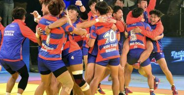 Ahmedabad:  South Korean players celebrates after win the inaugural match against India during the Kabaddi World Cup-2016 in Ahmedabad on Friday. PTI Photo (PTI10_7_2016_000235B)