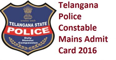 TSLPRB Constable Mains Admit Card 2016