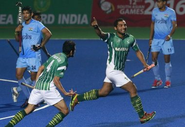 Guwahati: Pakistan's Awais Ur Rehman, second right, celebrates after scoring a goal against India during the final match of hockey at the South Asian Games in Guwahati on Friday.. PTI Photo(PTI2_12_2016_000317B)