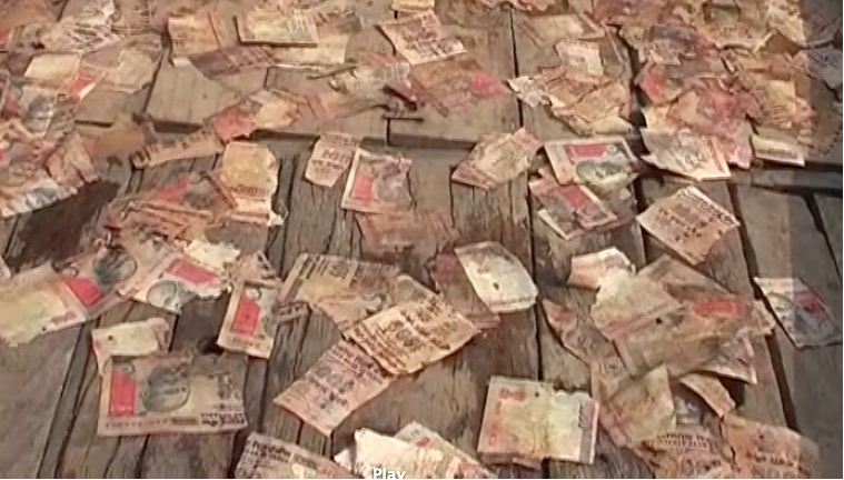 demonetised-notes-of-rs-1000-found-floating-in-holy-ganga-river-in-varanasi-up