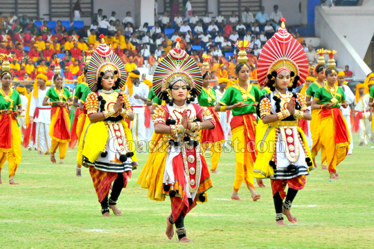 Cultural programme during Rajyotsava celebrations organised by Public Instruction Department at Kanteerava Stadium in Bengaluru on Sunday. - KPN ### Rajyotsava celebrations