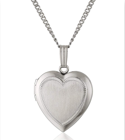 Sterling Silver-Satin finish engraved Heart Locket