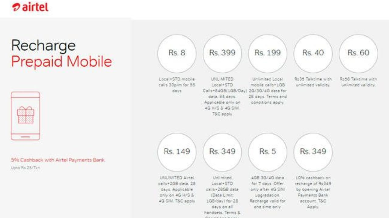 New Airtel Prepaid Plans Exciting From Rs 8 to Rs 399 and Target Jio