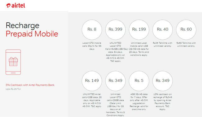 New Airtel Prepaid Plans Exciting From Rs.8 to Rs.399 and Target Jio