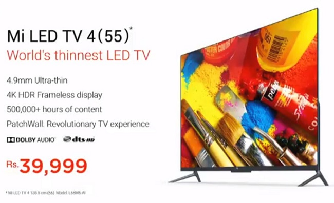 Xiaomi launches Mi TV 4 in India, priced at INR 39999